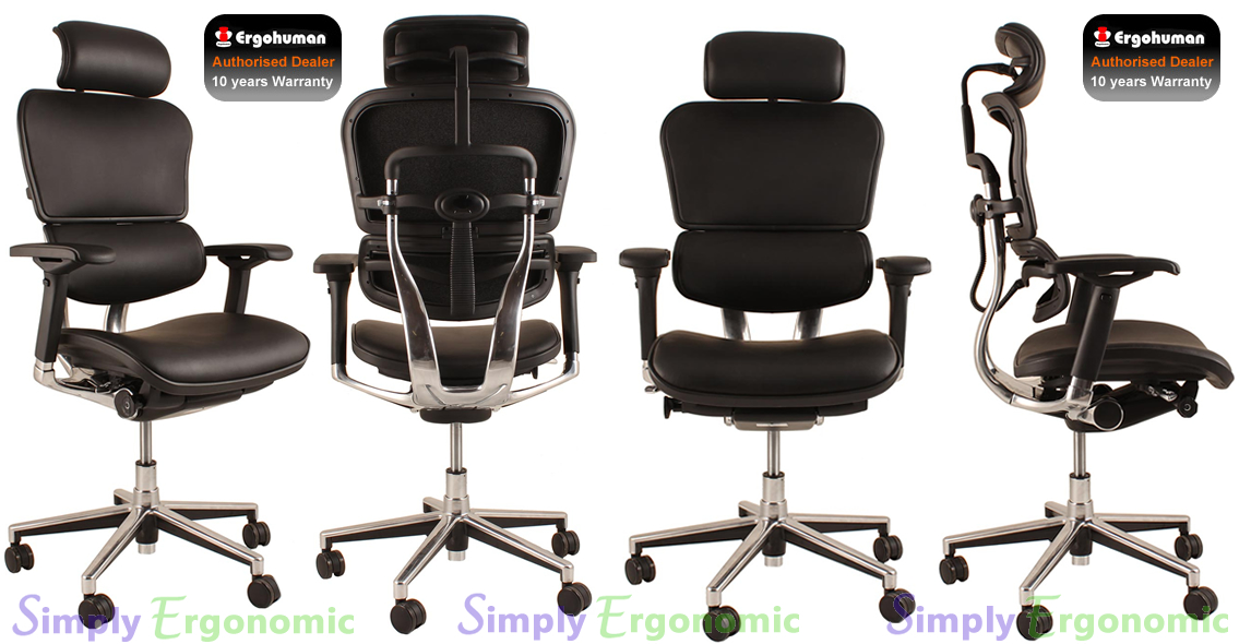 Ergohuman Black Leather Ergonomic Office Chair Leather