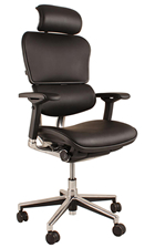Ergohuman  Black Leather Ergonomic Office Chair with Headrest