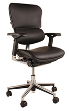 Ergohuman Black Leather Ergonomic Office Chair no Headrest
