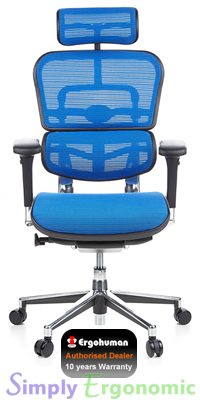 Ergohuman Blue Mesh High Back Ergonomic Office Chair