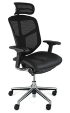 Enjoy Office Chair Leather Seat Mesh Back with Neck Rest