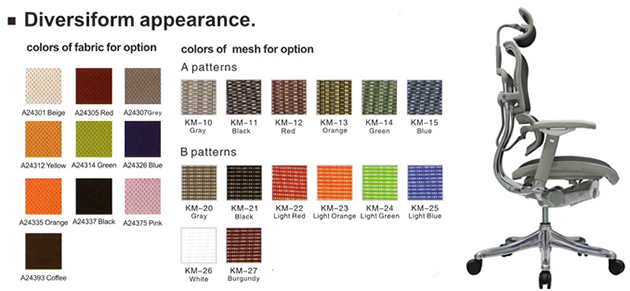 ergohuman chair mesh colour swatches