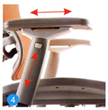 Arm pad forward or backward & armrest height adjustment