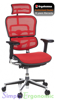Ergohuman Mesh Chair - Red Mesh with Head Rest