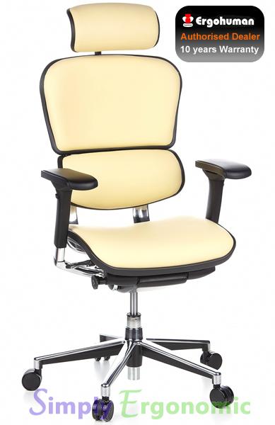 Ergohuman Cream Leather Ergonomic Office Chairs | Leather Office ...
