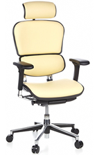 Ergohuman Cream Leather Ergonomic Office Chairs with Headrest