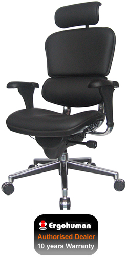 Ergohuman Black Leather Office Chair with Headrest