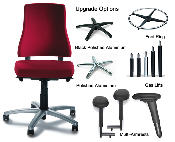Bma axia plus high back no arms aluminium accessories for Chair neck support attachment uk