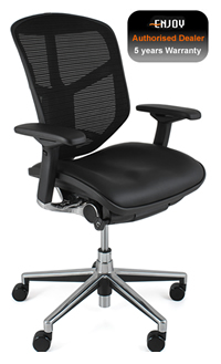 Enjoy Office Chair Leather Seat Mesh Back