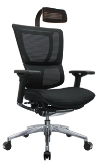 Mirus Mesh Office Chair with Black Frame and Headrest