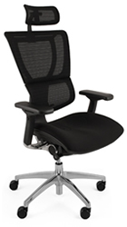 Mirus Office Chair with Polished Black Frame and Headrest