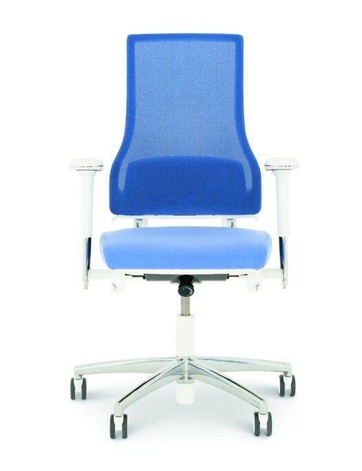 BMA 2.5 Blue Mesh High Back Office Chair White Frame