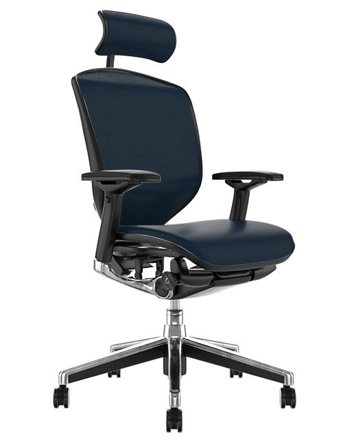 Enjoy Elite Black Leather Office Chair with Head Rest