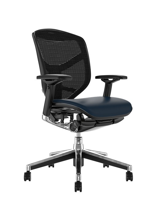 Enjoy Elite Black Leather Seat, Black Mesh Back Office Chair