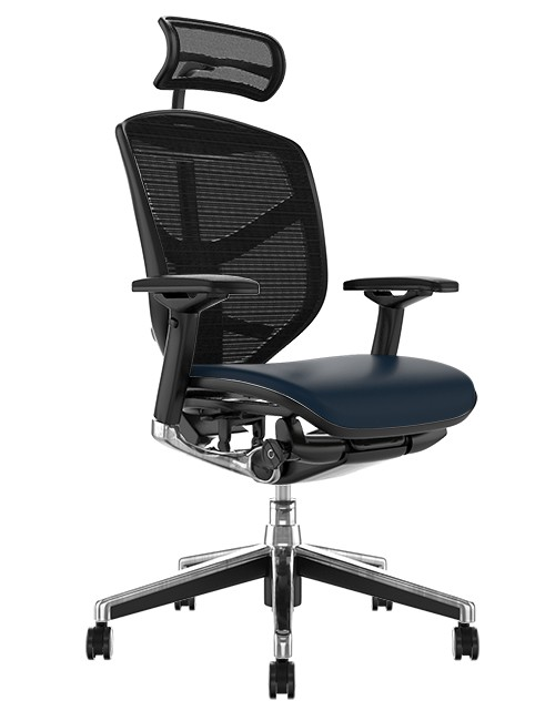 Enjoy Elite Black Leather Seat, Black Mesh Back Office Chair with Head Rest