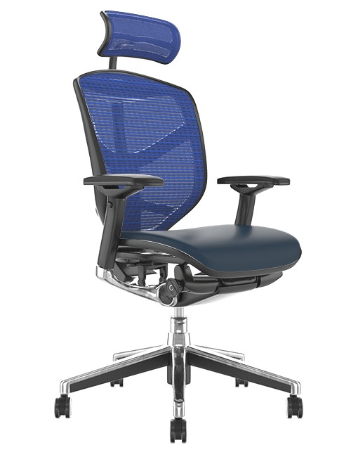 Enjoy Elite Black Leather Seat, Blue Mesh Back Office Chair with Head Rest