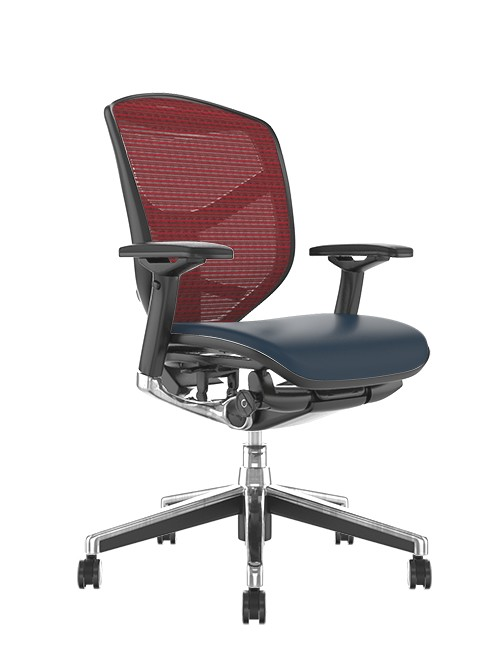 Enjoy Elite Black Leather Seat, Burgundy Mesh Back Office Chair