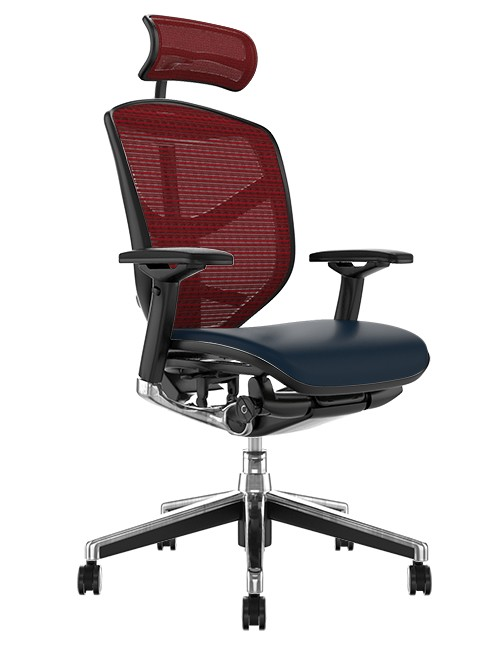 Enjoy Elite Black Leather Seat, Burgundy Mesh Back Office Chair with Head Rest