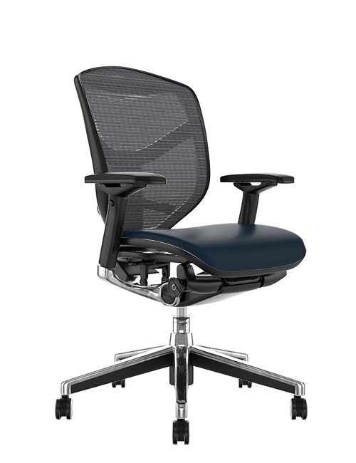 Enjoy Elite Black Leather Seat, Grey Mesh Back Office Chair