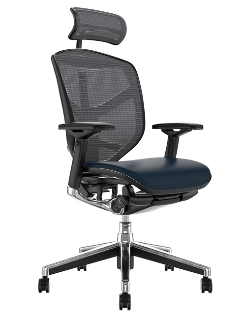 Enjoy Elite Black Leather Seat, Grey Mesh Back Office Chair with Head Rest