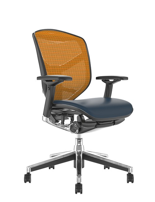 Enjoy Elite Black Leather Seat, Orange Mesh Back Office Chair