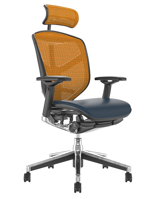 Enjoy Elite Black Leather Seat, Orange Mesh Back Office Chair with Head Rest