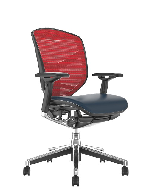 Enjoy Elite Black Leather Seat, Red Mesh Back Office Chair