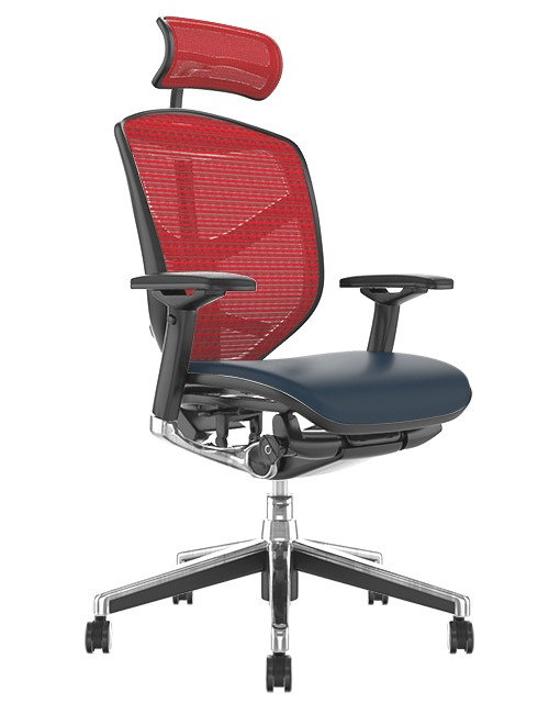 Enjoy Elite Black Leather Seat, Red Mesh Back Office Chair with Head Rest