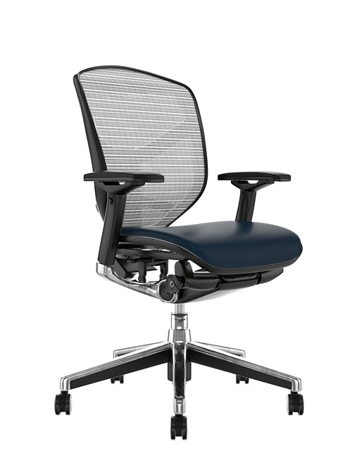 Enjoy Elite Black Leather Seat, White Mesh Back Office Chair