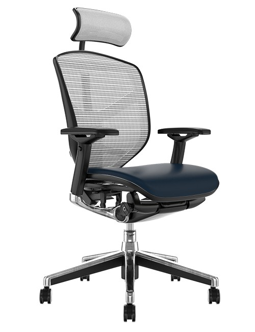 Enjoy Elite Black Leather Seat, White Mesh Back Office Chair with Head Rest