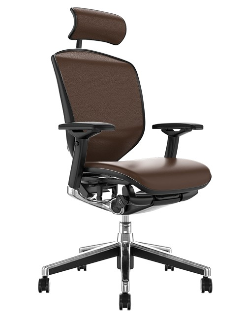 Enjoy Elite Dark Brown Leather Office Chair with Head Rest