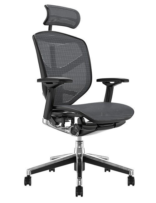 Enjoy Elite Office Chair Grey Mesh with Head Rest