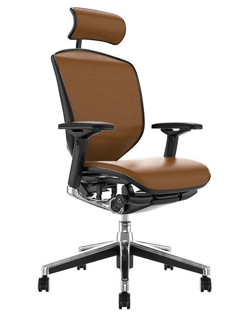 Enjoy Elite Latte Leather Office Chair with Head Rest