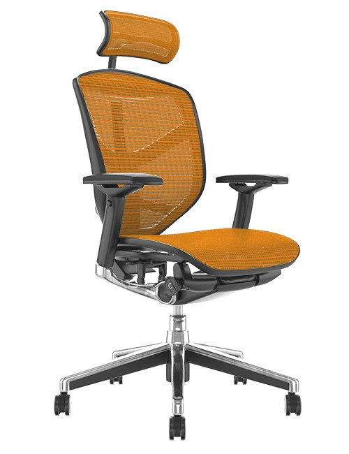 Enjoy Elite Office Chair Orange Mesh with Head Rest