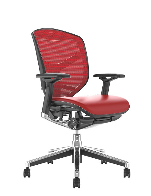 Enjoy Elite Red Leather Seat, Red Mesh Back Office Chair