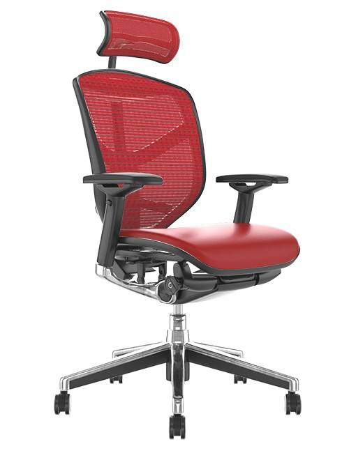 Enjoy Elite Red Leather Seat, Red Mesh Back Office Chair with Head Rest