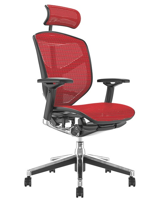 Enjoy Elite Office Chair Red Mesh with Head Rest