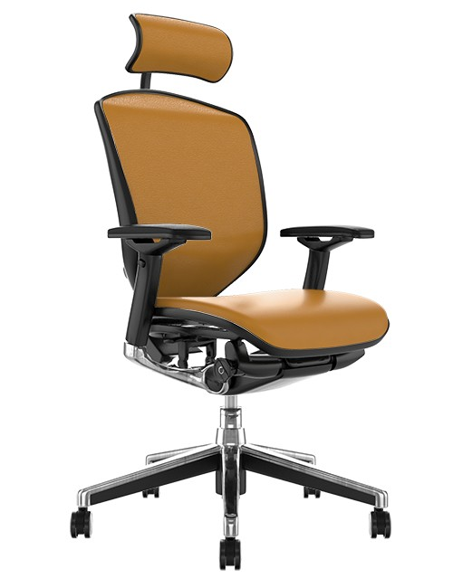 Enjoy Elite Tan Saffran Leather Office Chair with Head Rest