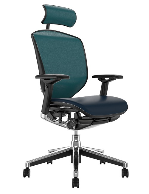 Enjoy Elite Office Chair, Teal Leather with Head Rest