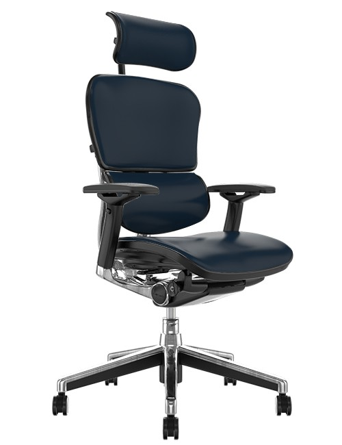 Ergohuman Elite Black Leather Office Chair with Head Rest