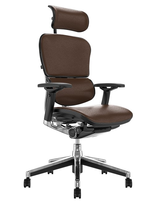 Ergohuman Elite Brown Leather Office Chair Ergohuman Elite Indego Leather Office Chair with Head Rest