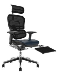 Ergohuman Elite Black Leather Seat Black Mesh Back with Head Rest and Leg Rest
