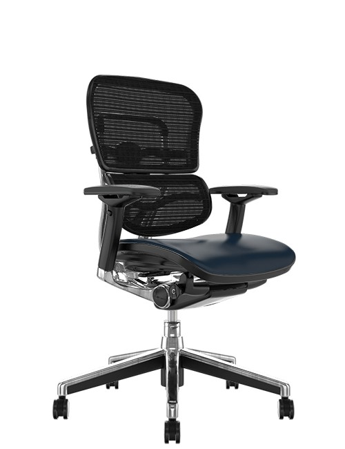 Ergohuman Elite Leather Seat Black Mesh Back no Head Rest