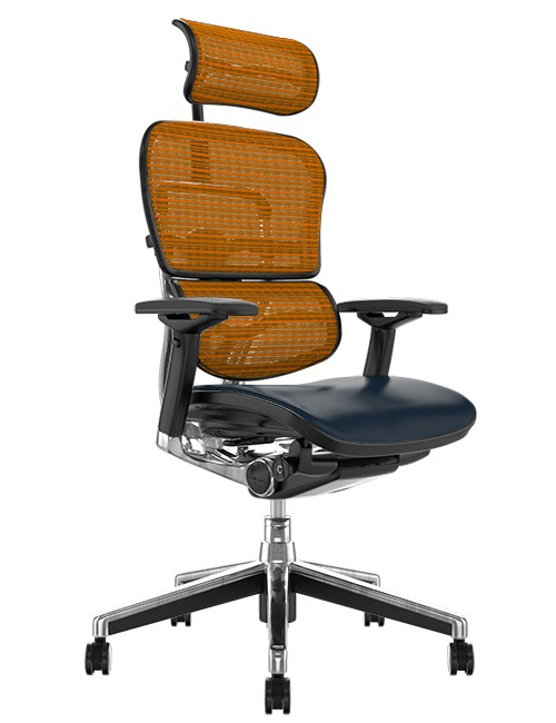 Ergohuman Elite Black Leather Seat Orange Mesh Back with Head