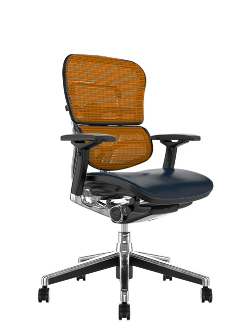 Ergohuman Elite Leather Seat Orange Mesh Back no Head Rest