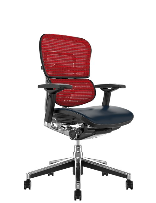 Ergohuman Elite Leather Seat Red Mesh Back no Head Rest