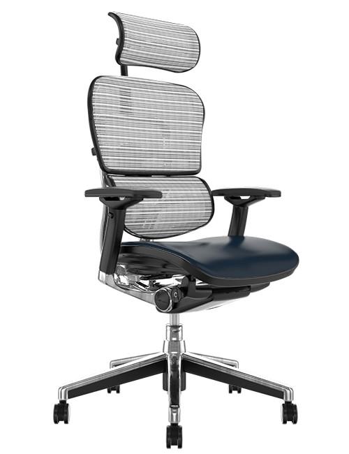 Ergohuman Elite Black Leather Seat White Mesh Back with Head