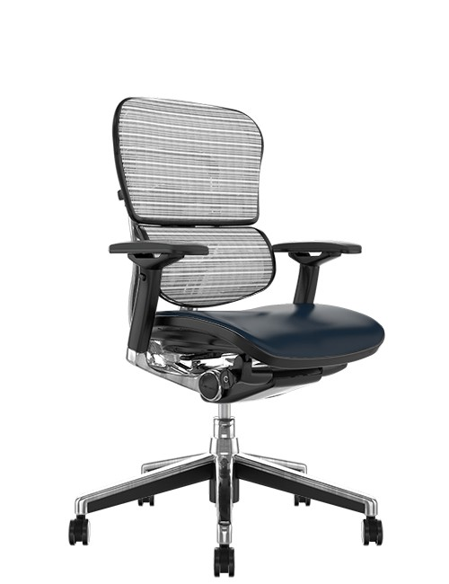 Ergohuman Elite Leather Seat White Mesh Back no Head Rest