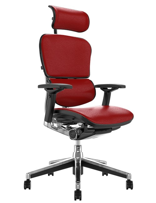 Ergohuman Elite Red Leather Office Chair with Head Rest