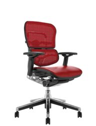 Ergohuman Elite Red Leather Seat Red Mesh Back no Head Rest